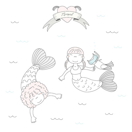 Hand drawn vector illustration of two cute little mermaid girls and a cat in swim fins and scuba mask, under water, heart and text. Isolated objects on white background. Design concept for kids. Illustration