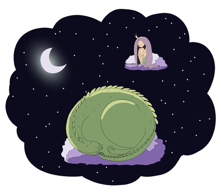 Hand drawn vector illustration of a sleeping princess and dragon floating on the clouds among the stars under the moon. Isolated objects. Design concept for children - postcard, poster, T-shirt print.