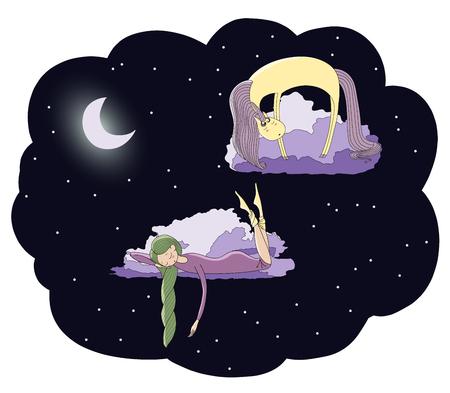 잠자는 소녀와 달에서 별 가운데 구름에 떠있는 유니콘의 손으로 그린 벡터 그림. 격리 된 개체입니다. 어린이 - 엽서, 포스터, t 셔츠 인쇄 디자인 개념