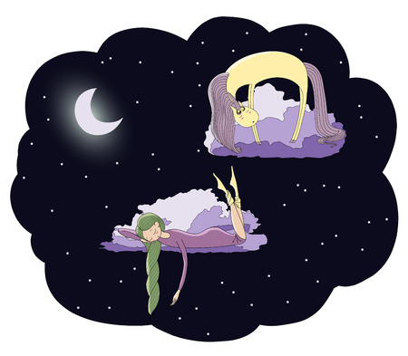 Hand drawn vector illustration of a sleeping girl and unicorn floating on the clouds among the stars under the moon. Isolated objects. Design concept for children - postcard, poster, T-shirt print.