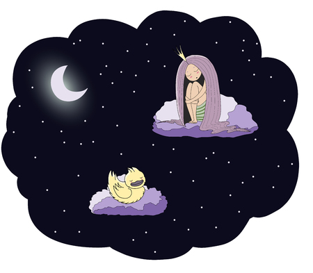 Hand drawn vector illustration of a sleeping princess and duck floating on the clouds among the stars under the moon. Isolated objects. Design concept for children - postcard, poster, T-shirt print. Illustration