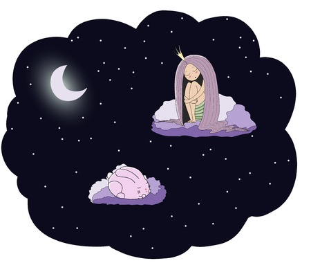 Hand drawn vector illustration of a sleeping princess and rabbit floating on the clouds among the stars under the moon. Isolated objects. Design concept for children - postcard, poster, T-shirt print.