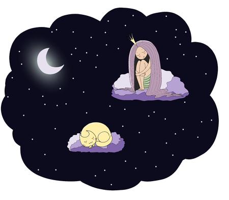 잠자는 공주와 달에서 별 가운데 구름에 떠있는 고양이의 손으로 그린 벡터 그림. 격리 된 개체입니다. 어린이 - 엽서, 포스터, t 셔츠 인쇄 디자인 개념