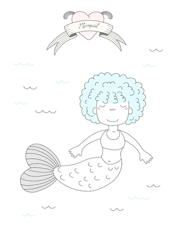 Hand drawn vector illustration of a cute little mermaid girl with curly hair, swimming in the sea, heart and text Mermaid on a ribbon. Isolated objects on white background. Design concept for children