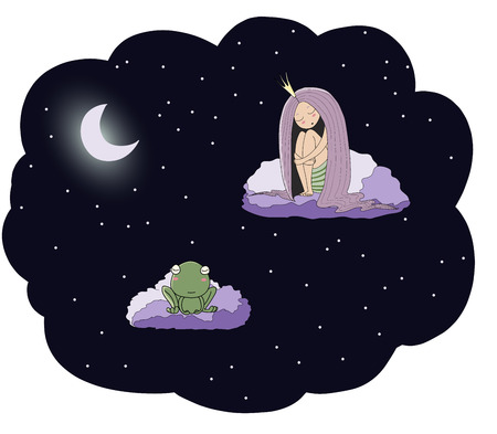 Hand drawn vector illustration of a sleeping princess and frog floating on the clouds among the stars under the moon. Isolated objects. Design concept for children - postcard, poster, T-shirt print.