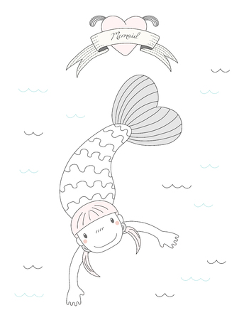 Hand drawn vector illustration of a cute little mermaid girl with pig tails, swimming in the sea, heart and text Mermaid on a ribbon. Isolated objects on white background. Design concept for children. Illustration