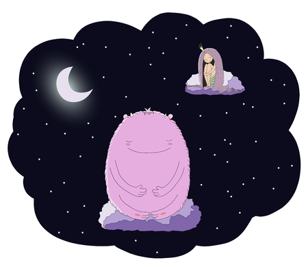 Hand drawn vector illustration of a sleeping princess and cute monster floating on the clouds among the stars under the moon. Isolated objects. Design concept for children - postcard, T-shirt print.
