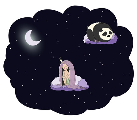 Hand drawn vector illustration of a sleeping princess and panda floating on the clouds among the stars under the moon. Isolated objects. Design concept for children - postcard, poster, T-shirt print.