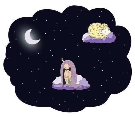 Hand drawn vector illustration of a sleeping princess and sheep floating on the clouds among the stars under the moon. Isolated objects. Design concept for children - postcard, poster, T-shirt print.
