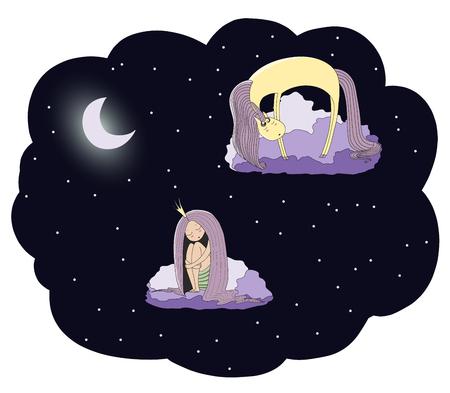 Hand drawn vector illustration of a sleeping princess and unicorn floating on the clouds among the stars under the moon. Isolated objects. Design concept for children - postcard, poster, T-shirt print Illustration