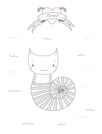 Hand drawn vector illustration of a cute little under water cat in a shell, swimming in the sea, heart and text Mermaid on a ribbon. Isolated objects on white background. Design concept for children.