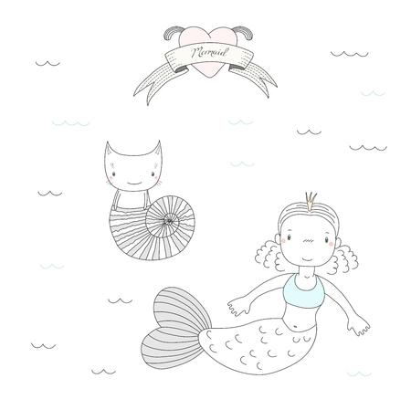 Bergeben Sie gezogene Vektorillustration einer netten kleinen Meerjungfrauprinzessin in einer Krone und in einer Katze in einem Seeoberteil, unter Wasser, Herzen und Text Meerjungfrau. Isolierte Objekte auf weißem Hintergrund. Gestaltungskonzept für Kinder Standard-Bild - 88892308