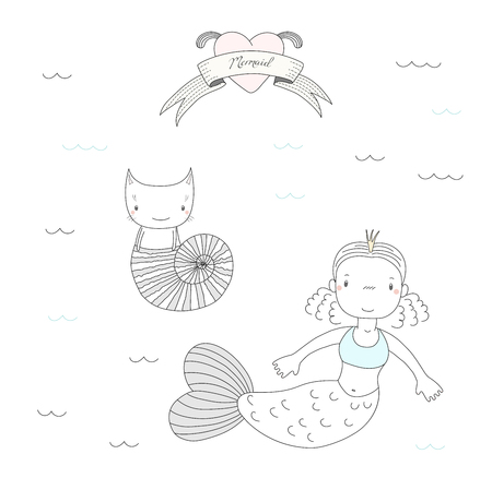 Hand drawn vector illustration of a cute little mermaid princess in a crown and a cat in a sea shell, under water, heart and text Mermaid. Isolated objects on white background. Design concept for kids