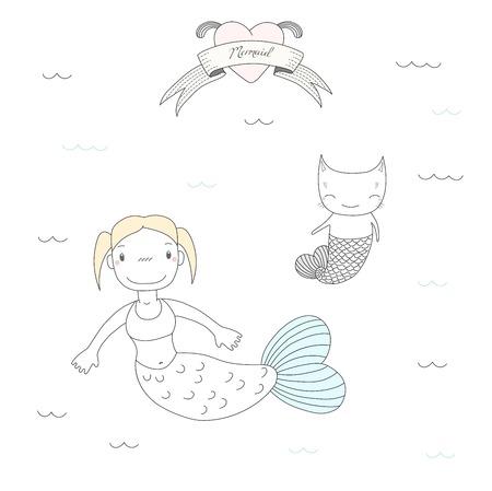 Bergeben Sie gezogene Vektorillustration eines netten kleinen Meerjungfraumädchens und einer Katze mit dem Fischschwanz und schwimmen in der See-, Herz- und Text Meerjungfrau. Lokalisierte Gegenstände auf weißem Hintergrund. Design-Konzept für Kinder. Standard-Bild - 88892309