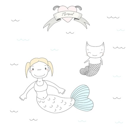 Hand drawn vector illustration of a cute little mermaid girl and a cat with fish tail, swimming in the sea, heart and text Mermaid. Isolated objects on white background. Design concept for children.
