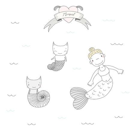 手描きのかわいいマーメイド ガールのベクトル イラストと魚の尾と海のシェルは、水、心およびテキストの下で水泳で 2 匹の猫。白い背景の上の孤