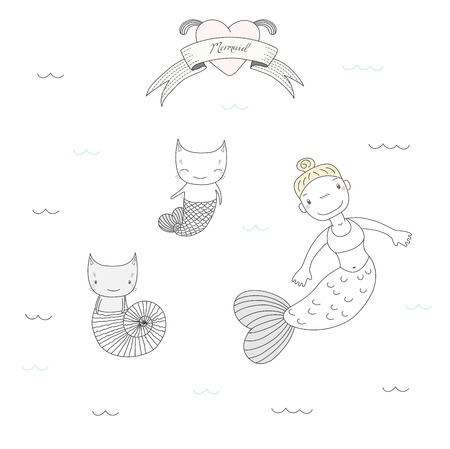 Hand drawn vector illustration of a cute mermaid girl and two cats with fish tail and in a sea shell, swimming under water, heart and text. Isolated objects on white background. Design concept kids. Illustration