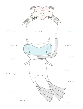 Hand drawn vector illustration of a cute little cat in swim fins and scuba mask, diving in the sea, heart and text Sea on a ribbon. Isolated objects on white background. Design concept for children. Illustration