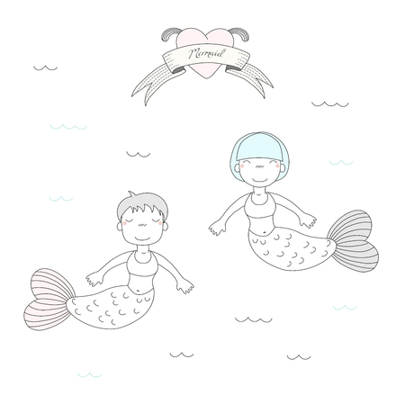 Hand drawn vector illustration of two cute little mermaid girls, swimming in the sea, heart with fins and text Mermaid on a ribbon. Isolated objects on white background. Design concept for children.