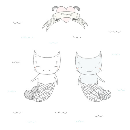 Hand drawn vector illustration of two cute little mermaid cats with tails, swimming in the sea, heart and text Mermaid on a ribbon. Isolated objects on white background. Design concept for children.