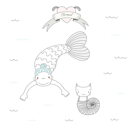 Hand drawn vector illustration of a cute little mermaid girl and a cat in a sea shell, under water, heart and text Mermaid on a ribbon. Isolated objects on white background. Design concept for kids.