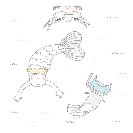 Hand drawn vector illustration of a cute little mermaid girl and a cat in swim fins and scuba mask, under water, heart and text Mermaid. Isolated objects on white background. Design concept for kids. Illustration