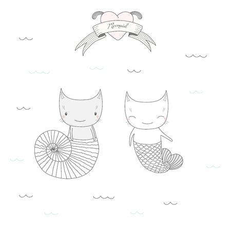 海の貝殻と水、心と人魚のテキストの下の魚の尾の 2 つのかわいい人魚猫の描かれたベクトル イラストを手します。白い背景の上の孤立したオブジ