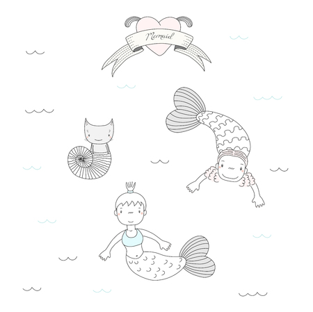 Hand drawn vector illustration of two cute little mermaid girls and a cat in sea shell, swimming under water, heart and text on a ribbon. Isolated objects on white background. Design concept for kids.