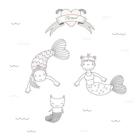 2 つのかわいい小さな人魚姫と水、ハート、リボン上のテキストの下の魚の尾を持つ猫の描かれたベクター イラストを手します。白い背景の上の孤