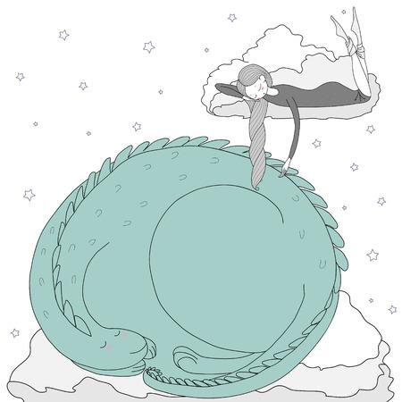 잠자는 소녀와 별 가운데 구름에 떠있는 드래곤의 손으로 그린 벡터 그림. 흰색 배경에 고립 된 개체입니다. 어린이 - 엽서, 포스터, T 셔츠 인쇄용 디자