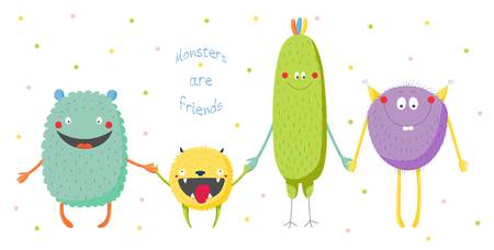 brow: Hand drawn vector illustration of cute funny colourful monsters smiling and holding hands, text Monsters are friends. Isolated objects on white background with polka dots. Design concept for children.