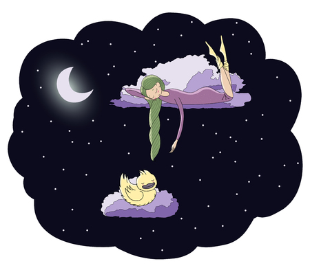 Hand drawn vector illustration of a sleeping girl and duck floating on the clouds among the stars under the moon. Isolated objects. Design concept for children - postcard, poster, T-shirt print. Illustration
