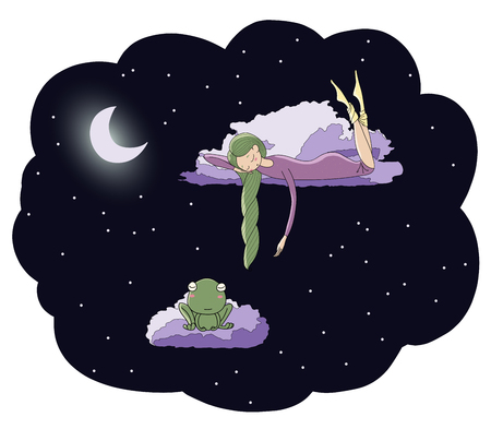 Hand drawn vector illustration of a sleeping girl and frog floating on the clouds among the stars under the moon. Isolated objects. Design concept for children - postcard, poster, T-shirt print. Illusztráció