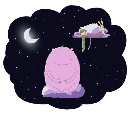 Hand drawn vector illustration of sleeping girl and cute monster floating on the clouds among the stars under the moon. Isolated objects. Design concept for children - postcard, poster, T-shirt print. Illustration