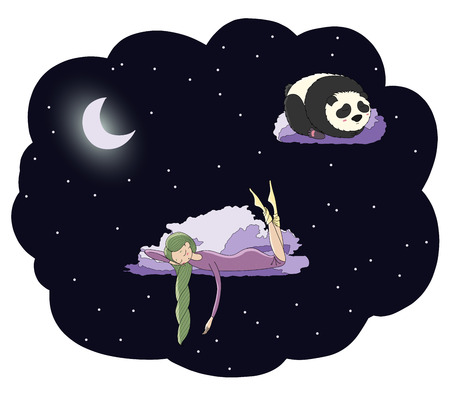 Hand drawn vector illustration of a sleeping girl and panda floating on the clouds among the stars under the moon. Isolated objects. Design concept for children - postcard, poster, T-shirt print.