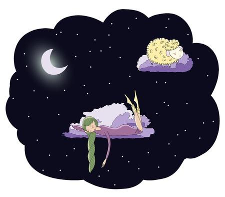 잠자는 소녀와 달 아래 별 가운데 구름에 떠있는 양 손으로 그린 벡터 그림. 격리 된 개체입니다. 어린이 - 엽서, 포스터, t 셔츠 인쇄 디자인 개념.