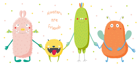 antennae: Hand drawn vector illustration of cute funny colourful monsters smiling and holding hands, text Monsters are friends. Isolated objects on white background with polka dots. Design concept for children.