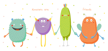Hand drawn vector illustration of cute funny colourful monsters smiling and holding hands, text Monsters are friends. Isolated objects on white background with polka dots. Design concept for children.