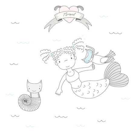 Hand drawn vector illustration of a cute mermaid girl, a cat in swim fins and scuba mask and cat in a sea shell, under water, heart and text. Isolated objects on white background. Design concept kids. Illustration