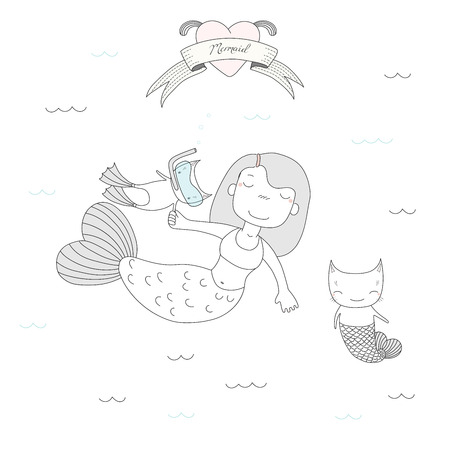 Hand drawn vector illustration of a cute mermaid girl, a cat in swim fins and scuba mask and cat with fish tail, under water, heart and text. Isolated objects on white background. Design concept kids. Ilustração