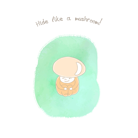 Illustration dessinée à la main d'une tige de scabre anthropomorphe à tête rouge sur un fond d'aquarelle, texte Cacher comme un champignon. Concept de design pour enfants - carte postale, affiche, autocollant, impression de t-shirt. Banque d'images - 88892350