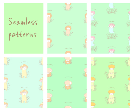 Set of hand drawn cute seamless vector patterns with mushrooms with Latin names: fly amanita, red capped scaber stalk, honey fungus, woolly milk cap, saffron milk cap. Design concept for children. Illustration