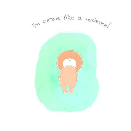 손으로 그린 그림의 anthropomorphic 사프란 우유 모자 수채화 배경, 텍스트 버섯처럼 호기심이 될. 어린이 - 엽서, 포스터, 스티커, T- 셔츠 인쇄 디자인 개 일러스트