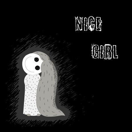 Hand getrokken vectorillustratie van een griezelig glimlachend meisje met grote griezelige ogen, haar hoofd gedraaid op onnatuurlijke hoek, met lang haar, in een nachthemd met polka dots, met tekst. Concept ontwerp.