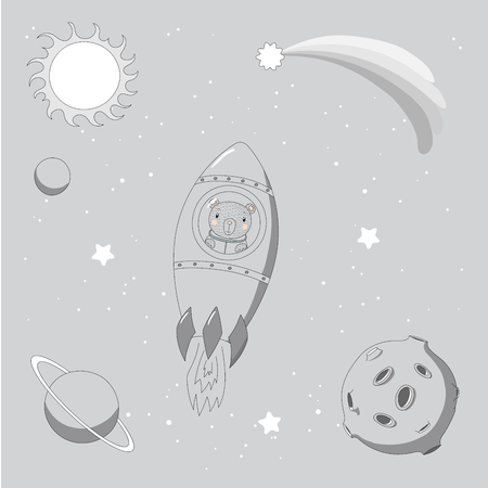 Hand drawn monochrome vector illustration of a cute funny rabbit astronaut flying in a rocket in outer space, on a background with stars and planets. Isolated objects. Design concept for children. Illustration