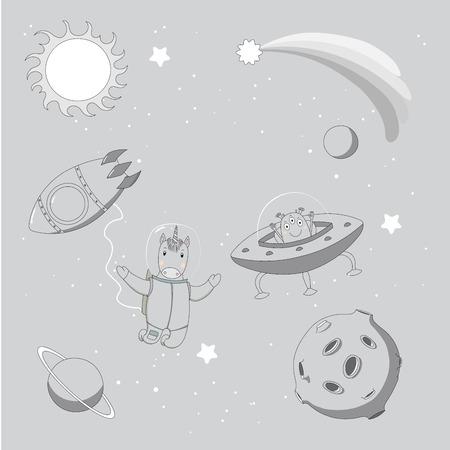 Hand getekend monochroom vectorillustratie van een schattige grappige alien in een vliegende schotel en eenhoorn-astronaut op een ruimtewandeling, op een achtergrond met sterren en planeten. Geïsoleerde objecten. Ontwerpconcept kinderen.