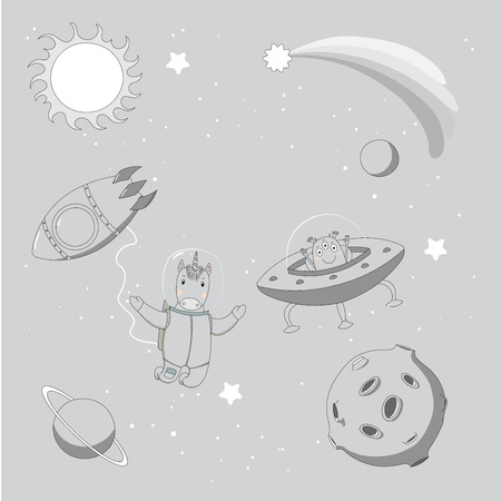 Hand drawn monochrome vector illustration of a cute funny alien in a flying saucer and unicorn astronaut on a spacewalk, on a background with stars and planets. Isolated objects. Design concept kids.