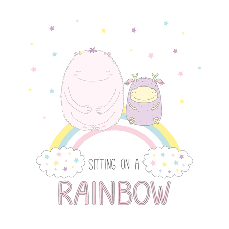 Hand drawn vector illustration of two cute funny smiling monsters, sitting on a rainbow, with text. Isolated objects on white background with stars. Design concept for children. Illustration