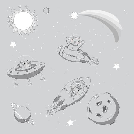 Hand getrokken monochrome vectorillustratie van een schattige grappige alien in een vliegende schotel en eenhoorn en kat astronauten in raketten, op een achtergrond met planeten. Geïsoleerde objecten. Ontwerpconcept voor kinderen.