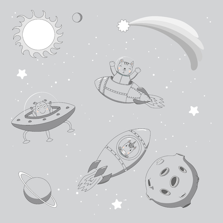 Hand drawn monochrome vector illustration of a cute funny alien in a flying saucer and unicorn and cat astronauts in rockets, on a background with planets. Isolated objects. Design concept for kids. Illustration